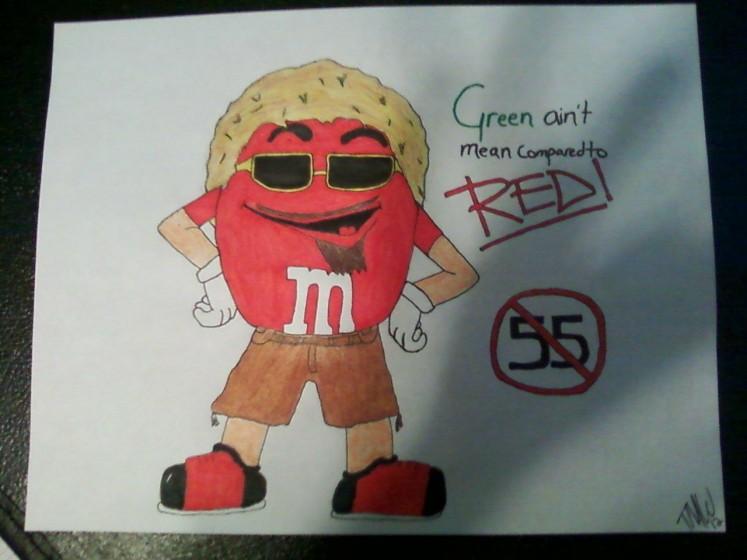 Red Rocker M&M drawing
