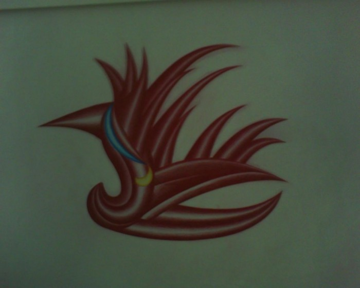 red rocker drawing color pencil