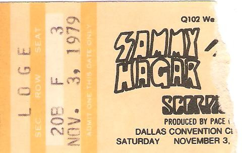 Nov 3, 1979 Dallas, Texas Ticket Stub
