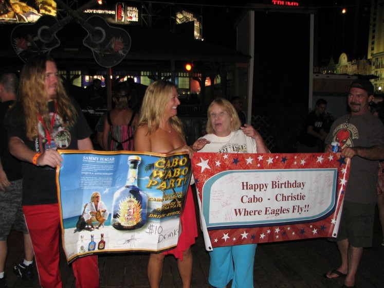 "[me Danny on left - ""Cabo"" Christie right of me] Sammy signed my banner/poster! - August 2011 @ Sammy's Beach Bar in Atlantic City, New Jersey - Cabo Christie's B-Day Bash"