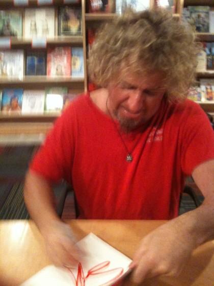 Sammy signing my book