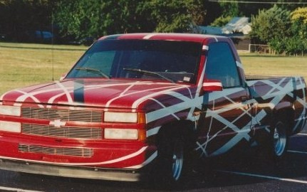 1996 I got a wild hair to do this to my truck. Took me 24 hours to paint it.