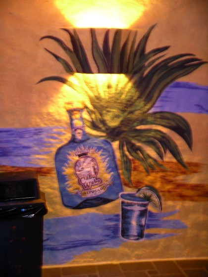 Cabo Wabo Bottle on the Cantina Wall!