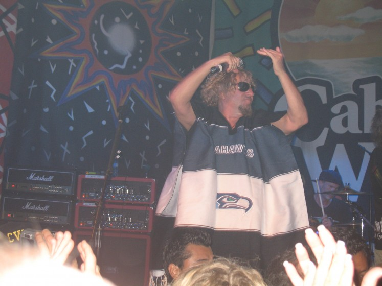 2009 Birthday Bash = Wearing our Seahawk Poncho