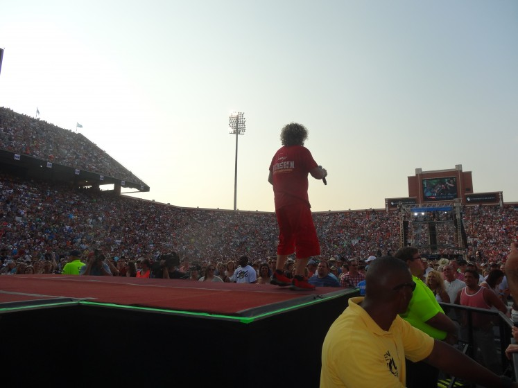 Sammy singing out to 60,000 fans at OU Gaylord Memorial Stadium