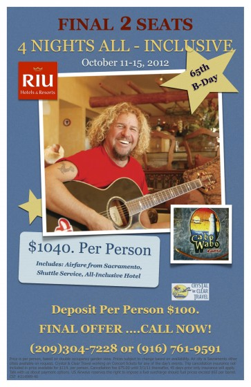 SAMMY HAGAR 65TH BIRTHDAY BASH PARTY!! JOIN US.....