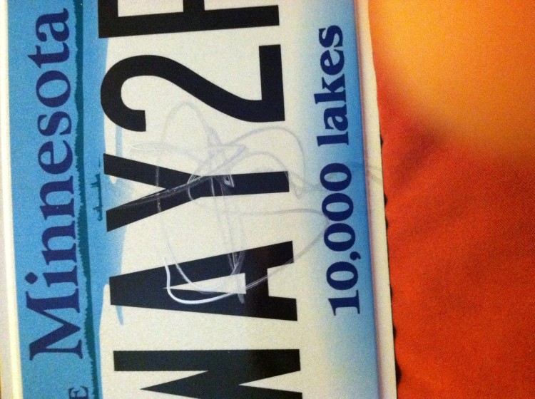 Sammy signed my license plate