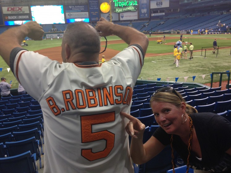 Cheering on the O's in Tampa!! Trop field rocks!