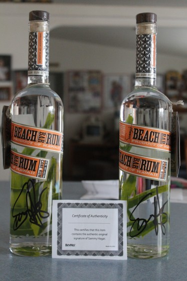 Signed bottles of rum