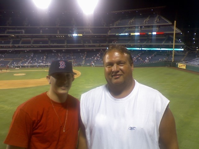 Me and my son at a Red Sox game in Philadelphia