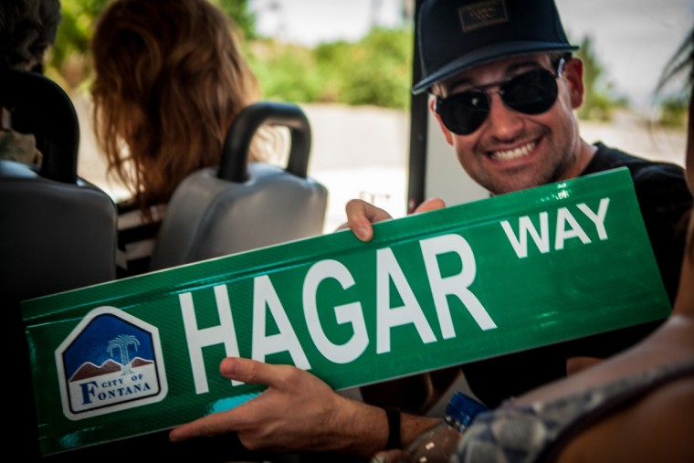 Sammy's song Andrew with the new Hagar Way street sign
