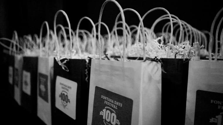 Gift bags at 100th Anniversary Fontana Days