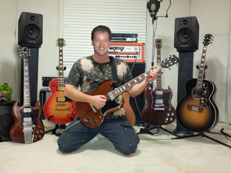 Raz in the guitar studio