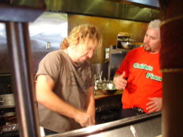 Sammy and Guy Working on Cabo Wabo Cooking Recipes