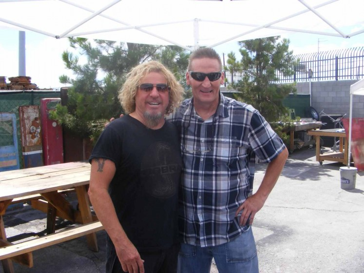 "Sammy at Ricks Restorations filming ""American Restoration"" for the History Channel."