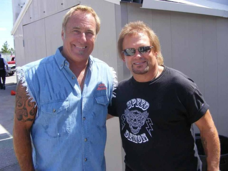 Michael Anthony, Rick Dale filming with Sammy at Ricks Restorations, Las Vegas, Nv.