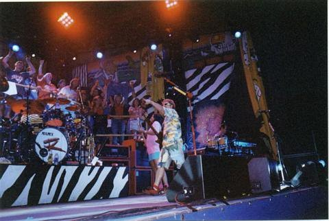 with sammy on stage at Nautica in Cleveland 9/2001