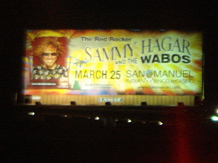 Sammy Hagar and the Wabos billboard