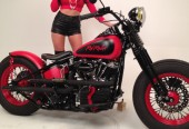 Red Rocker Bobber with Michael Allman Photo shoot for Born to Ride Magazine