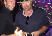 Chad Kroger from Nickelback and Toby Keith hanging out together at the Cabo Wabo