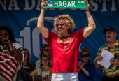 "Sammy shows off sign for the new ""Hagar Way"" that will be built in Fontana"
